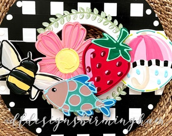 Spring door hanger attachment bee, fish, umbrella, pink flower, strawberry interchangeable