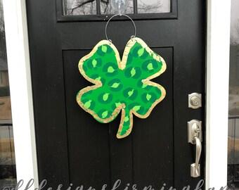 St  Patrick's Day Clover door hanger shamrock leopard print hand lettered gold leaf