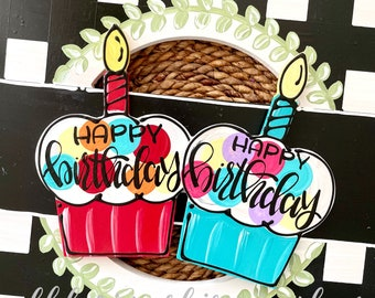 Happy birthday cupcake door hanger attachments interchangeable