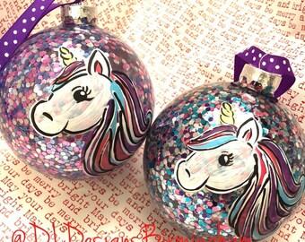 Unicorn glitter ornament girl personalized