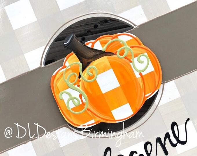 Pumpkin attachments for wreath door hanger gingham handpainted
