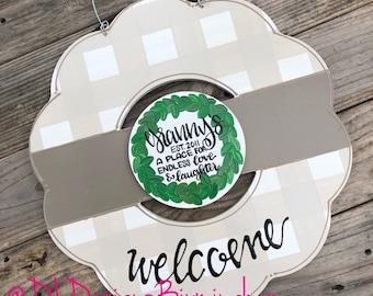 Grandparent neutral wreath door hanger gingham and hand lettering Mother's Day interchangeable
