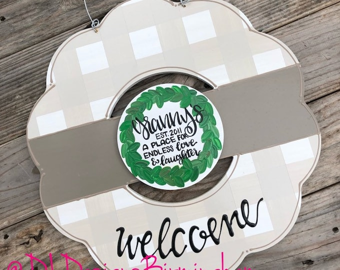 Grandparent neutral wreath door hanger gingham and hand lettering mothers day