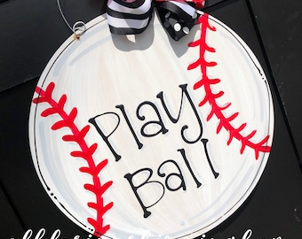 Baseball Door hanger hand painted hand lettered custom personalized play ball
