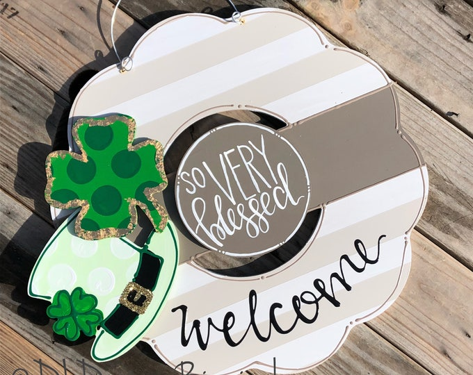 St Patrick's Day door hanger attachments hat with clover, 4 leaf clover, shamrock