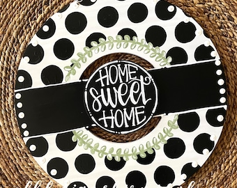 Black and white polka dot wreath door hanger with gingham and hand lettering interchangeable home sweet home green floral