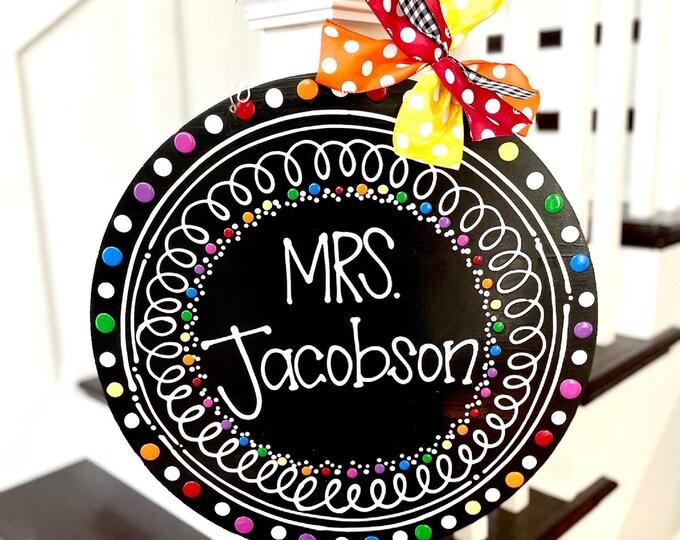 Featured listing image: teacher door hanger wreath hand lettered circle chalkboard brights classroom decor