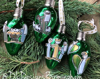 Nativity ornament set glass handpainted green light shaped glass
