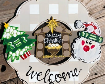 Christmas door hanger attachments santa, nativty, snowman, gingerbread, christmas tree