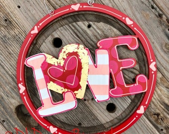 Valentine's Day Door Hanger LOVE red pink gold hand painted hand lettered