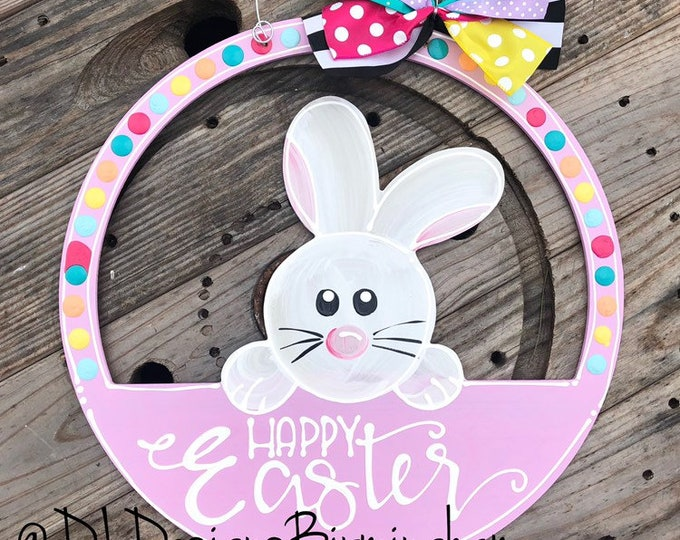 Easter bunny door hanger hand lettered bright