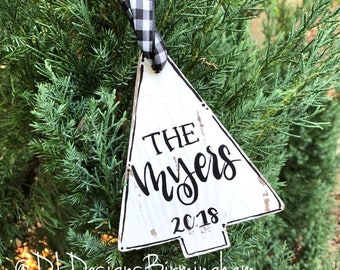 Tree ornament wood personalized