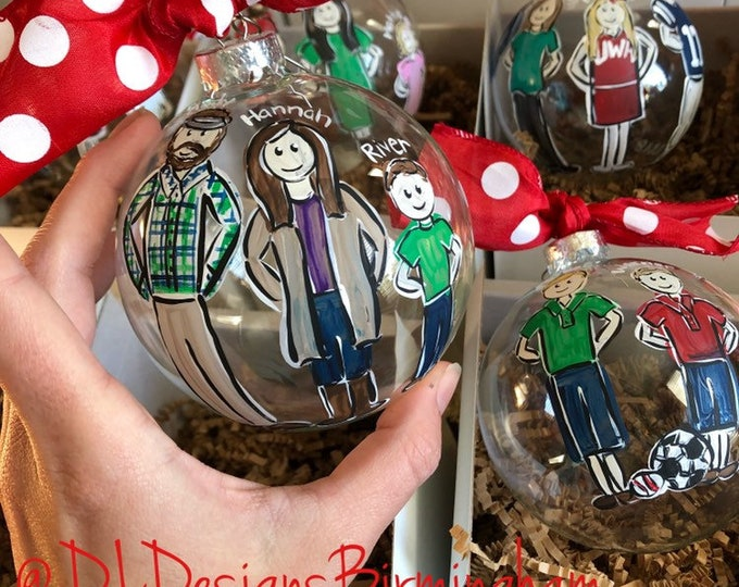 Family ornament handpainted mothers day grandparents custom
