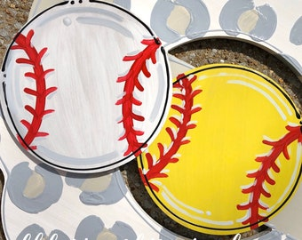 Baseball or softball door hanger attachment interchangeable custom personalized