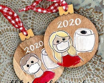 2020 ornament wood mask and toilet paper hand painted hand lettering