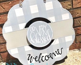 Gray wreath door hanger gingham and hand lettering interchangeable