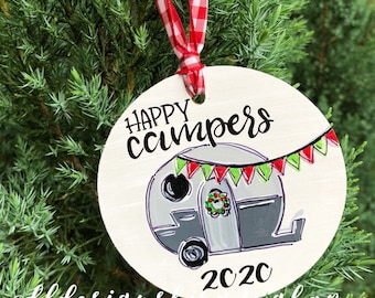 Happy campers ornament christmas wood ornament handpainted hand lettered personalized