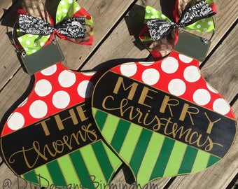 Christmas ornament Door Hanger personalized with handlettering