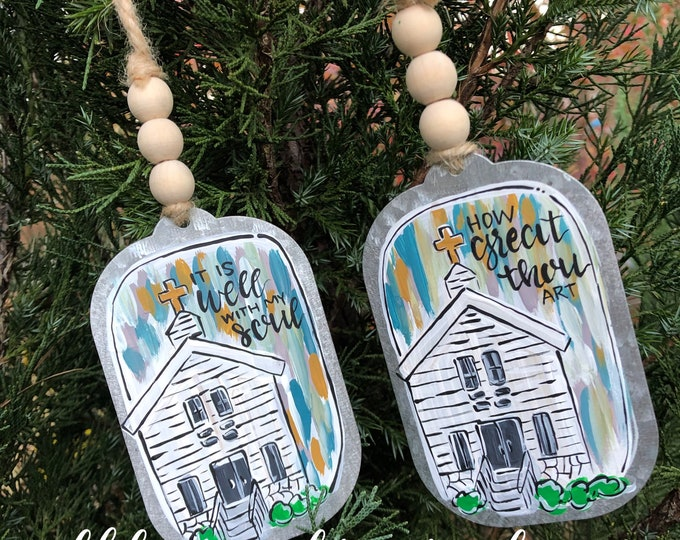 Featured listing image: Church ornament metal how great thou art handpainted galvanized hand lettered