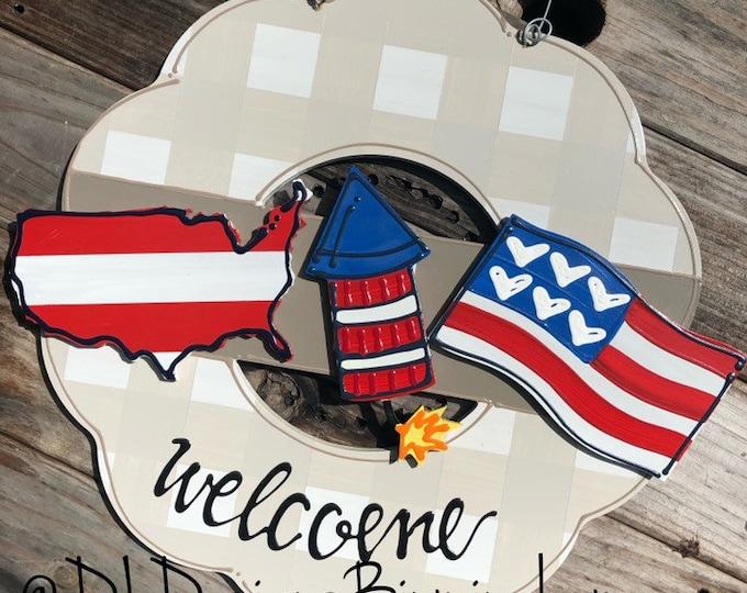 Summer door hanger attachment patriotic, 4th of July, flag, firecracker, usa interchangeable