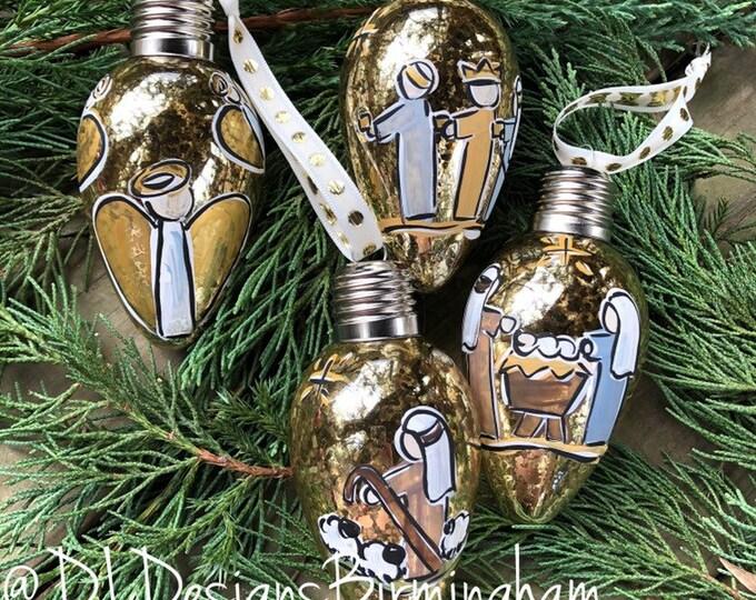 Nativity ornament set glass handpainted gold light glass