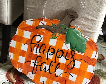 pumpkin door hanger gingham with happy fall or give thanks