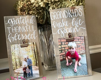 Grandkids grateful thankful blessed picture frame hand lettered stained wood mothers day