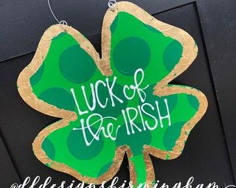 St  Patrick's Day Clover door hanger shamrock gold leaf hand lettered polka dots