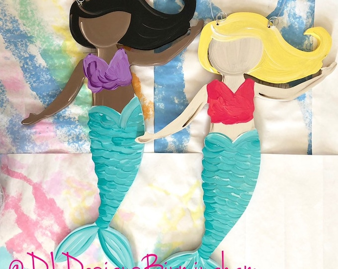 Mermaid door hanger litte girl custom