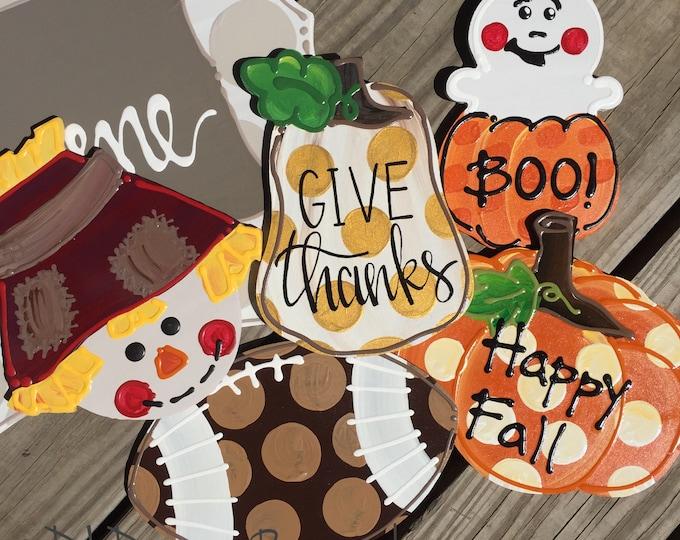 fall door hanger attachments halloween, scarecrow, ghost, pumpkin, football