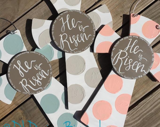 Easter cross door hanger He is Risen with polka dots and hand lettering