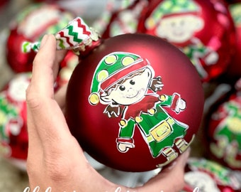 Elf ornament handpainted custom metal red glass ornament Christmas