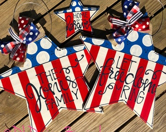 American flag door hanger with handlettering let freedom ring or personalized