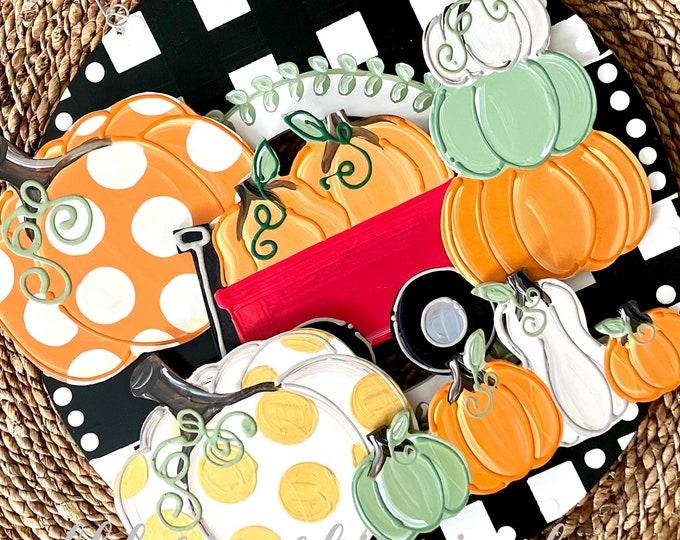 Featured listing image: Pumpkin attachments for wreath door hanger gingham handpainted interchangeable pumpkin stack wagon