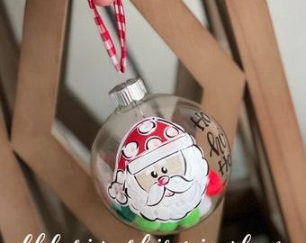santa glass handpainted ho ho ho confetti ornament Christmas