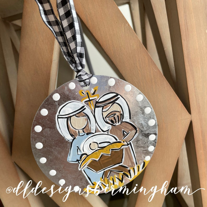 mary Baby jesus joseph handpainted galvanized metal ornament