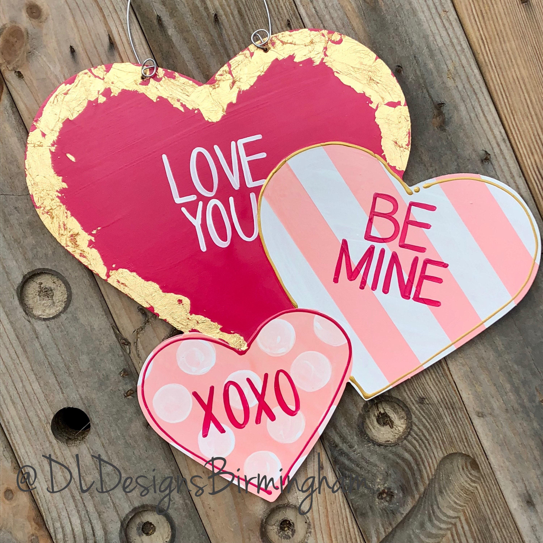 valentine s day heart door hanger conversation hearts