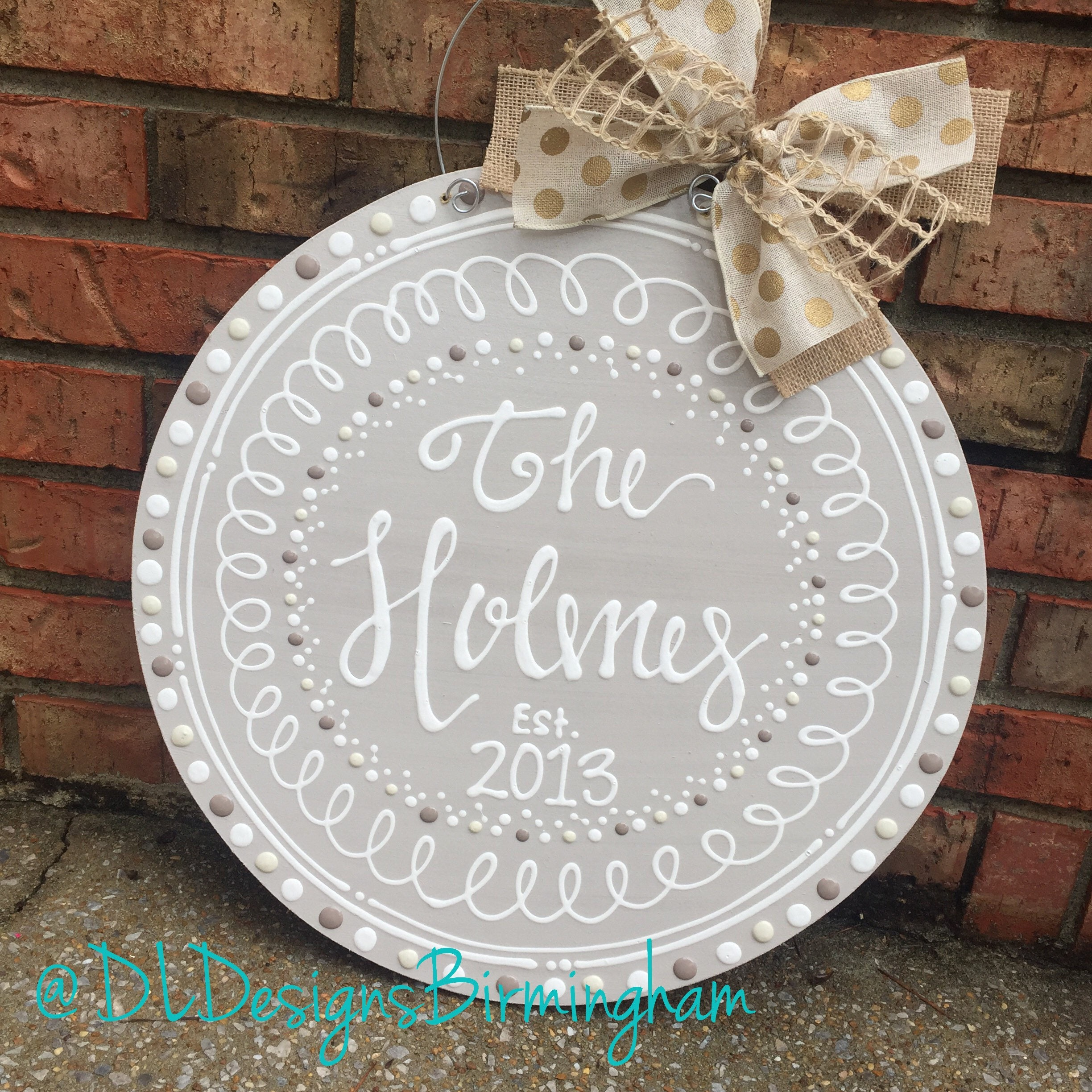 Personalized neutral door hanger hand lettered circle wedding gift ...