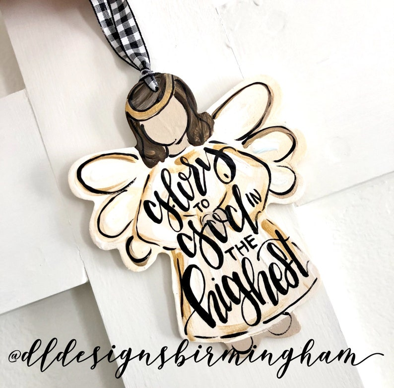 angel ornament wood handpainted glory to god in the highest
