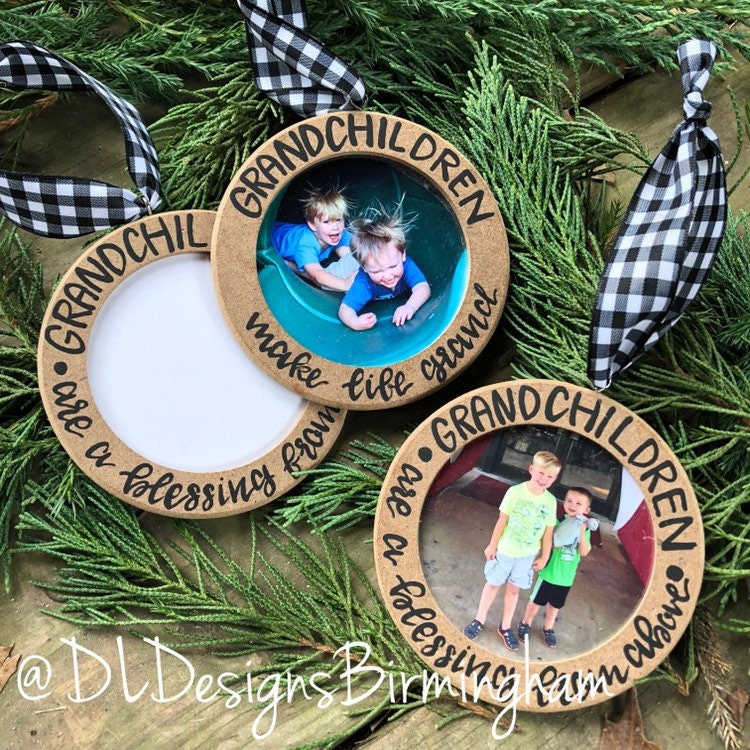 Grandchildren Ornament Wood Picture Frame Handletteted Grandkids Grandparent Gift