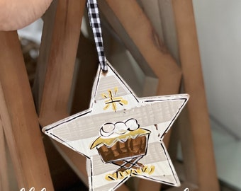 Baby jesus handpainted wood star stripes ornament