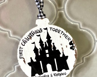 First christmas together mr and mrs ornament castle hand painted hand lettered