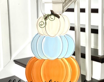 pumpkin stack door hanger hand painted cream, orange, blue