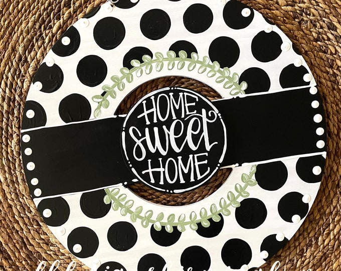 Featured listing image: Black and white polka dot wreath door hanger with gingham and hand lettering interchangeable home sweet home green floral