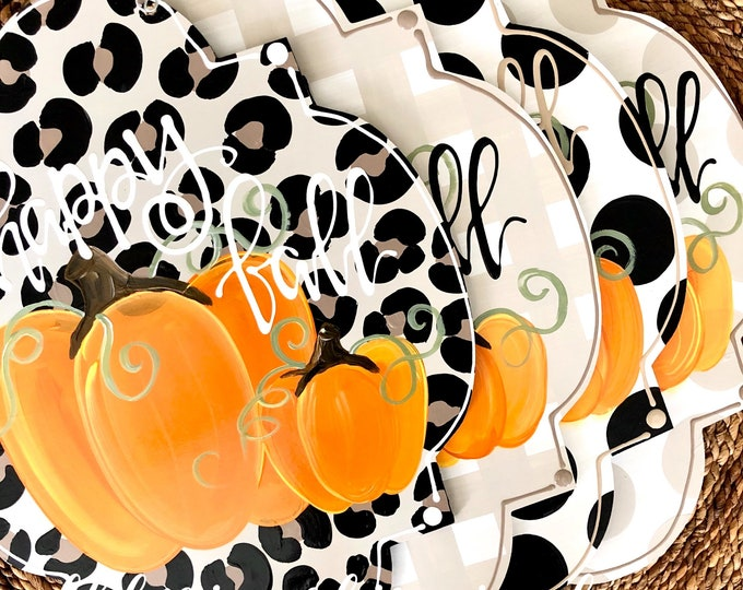 Featured listing image: pumpkin door hanger with happy fall y'all or give thanks personalized double pumpkin handlettered leopard polka dot gingham