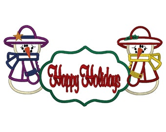 Applique Happy Holidays Banner With 2 Snowmen 7 Sizes, Machine Embroidery Design