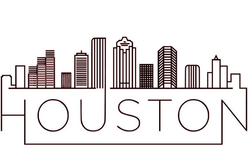 Texas Unique Linear Skyline of Houston SVG GSP Files