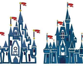 Filled & Applique Castle, 3 Sizes,  6 Files, Instant Download, Machine Embroidery Design