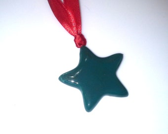Teal Star Ceramic Christmas Ornament, Red and Green