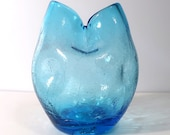 Mid Century Bischoff 430 Blue Pinched Dimpled Hand Blown Crackled Ivy Vase
